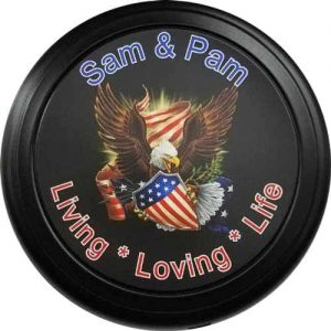 Personalized flag tire cover