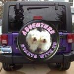 Dog photo on custom tire cover