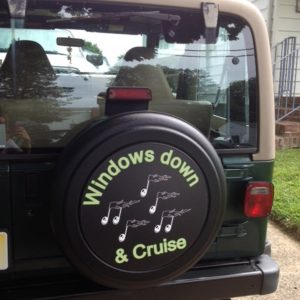Custom spare tire cover for Jeep