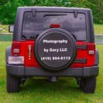 Photography services advertised on spare tire cover