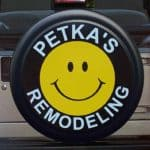 Smiley face tire cover for advertising